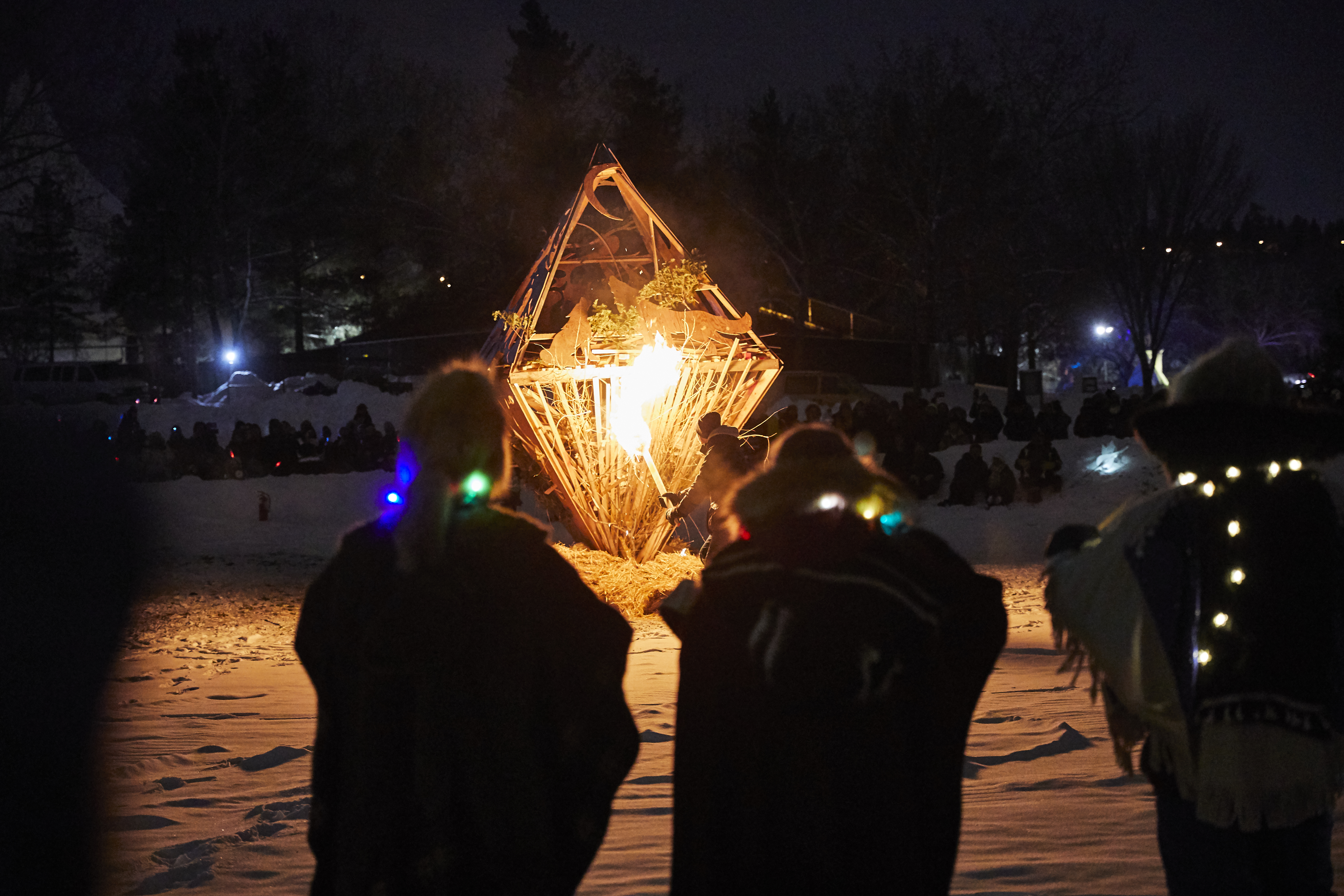 Fire Sculpture at the Silver Skate Festival