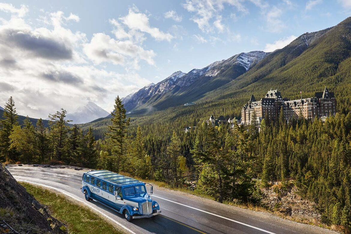 Open Top Touring with a view of Fairmont Banff Springs Hotel